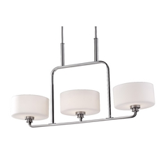 Modern Drum Island Light with White Glass in Brushed Steel Finish