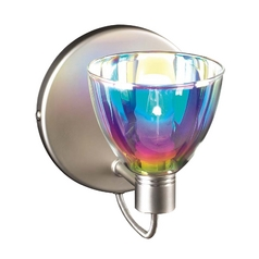 Modern Sconce Wall Light with Multi-Color Glass in Satin Nickel Finish