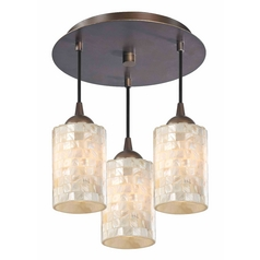 3-Light Semi-Flush Light in Bronze Finish - Bronze Finish