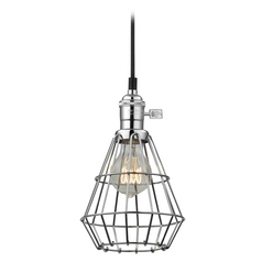 Design Classics Lighting Vintage Hoyt Polished Chrome Mini-Pendant Light With Cage  CA1-26 CAGE1-26
