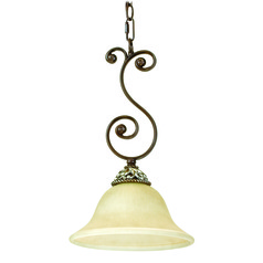 Jeremiah Mia Aged Bronze, Vintage Madera Mini-Pendant Light with Bowl / Dome Shade