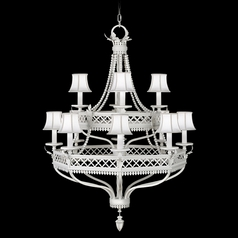 Fine Art Lamps Black + White Story White Satin Lacquer Chandelier