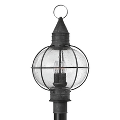 Seeded Glass Outdoor Post Light Zinc Hinkley Lighting