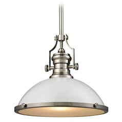 Elk Lighting Chadwick Gloss White/satin Nickel Pendant Light with Bowl / Dome Shade