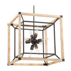 Farmhouse Mid-Century Modern Chandelier Black Tesseract by Craftmade Lighting