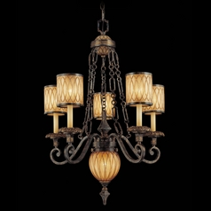 Crystal Chandelier with Amber Art Glass in Patina / Gold Leaf Finish
