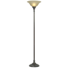 Design Classics Lighting Bronze Torchiere Floor Lamp with Amber Glass 6160-20
