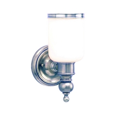 Sconce with White Glass in Antique Nickel Finish