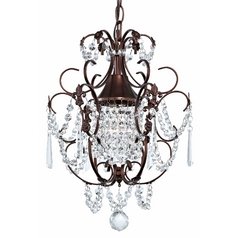 Crystal Mini-Chandelier Pendant Light in Bronze Finish