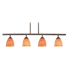 Modern Linear Pendant Light with 4-Lights and Art Glass in Bronze Finish