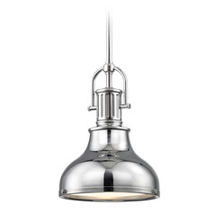 Industrial Chrome Mini-Pendant with Metal Shade 8.63-Inch Wide
