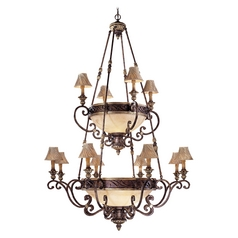 Old World Chandelier with Scavo Glass - Lamp Shades Not Included