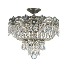 Crystorama Lighting Crystal Semi-Flushmount Light in Historic Brass Finish 1483-HB-CL-SAQ