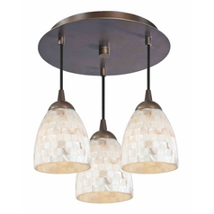 3-Light Semi-Flush Ceiling Light in Bronze Finish - Bronze Finish