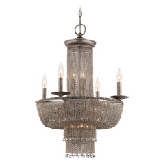 Shimmering Falls Antique Silver Chandelier