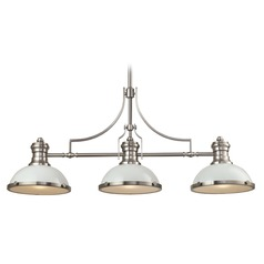 Elk Lighting Chadwick Gloss White/satin Nickel Island Light with Bowl / Dome Shade