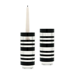 Sliced Tuxedo Crystal Candleholder - Smallall. Set of 2