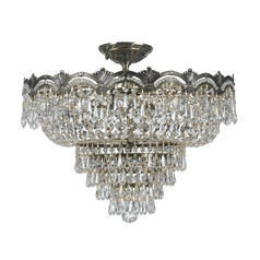 Crystal Semi-Flushmount Light in Historic Brass Finish