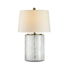 Modern Table Lamp with White Shade in Clear Glass/brass Finish