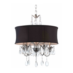 Ashford Classics Lighting Black Drum Shade Crystal Chandelier Pendant Light 2234 BK