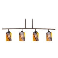 Modern Island Light with Multi-Color Glass in Neuvelle Bronze Finish