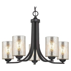 Bronze Chandelier with Mercury Cylinder Glass and 5-Lights