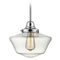 10-Inch Chrome Clear Glass Schoolhouse Mini-Pendant Light
