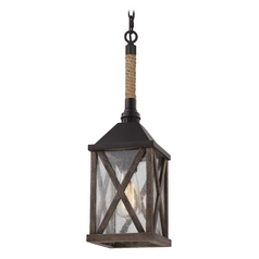Feiss Lighting Lumiere Dark Weathered Oak / Oil Rubbed Bronze Mini-Pendant Light with Rectangle Shad