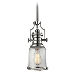 Elk Lighting Chadwick Polished Nickel Mini-Pendant Light with Bowl / Dome Shade