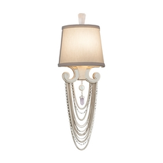 Crystal Beaded Wall Sconce Light in Modern Silver Finish