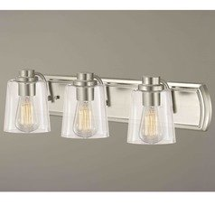 Industrial 3-Light Bathroom Light with Clear Glass in Satin Nickel