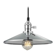 Retro Hoyt Polished Chrome Cone Shade Mini-Pendant Light