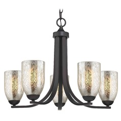 Bronze Chandelier with Mercury Dome Glass and 5-Lights