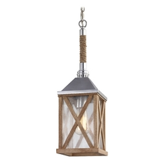 Feiss Lighting Lumiere Natural Oak / Brushed Aluminum Mini-Pendant Light with Rectangle Shade