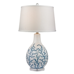 Table Lamp with White Shade in Pale Blue with White Finish