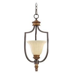 Quorum Lighting Capella Toasted Sienna with Golden Fawn Pendant Light with Bell Shade
