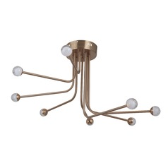 Mid-Century Modern LED Semi-Flushmount Light Brass Solis by Craftmade Lighting