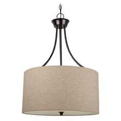 Sea Gull Lighting Stirling Burnt Sienna LED Pendant Light with Drum Shade