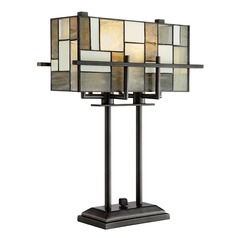 Lite Source Collins Aged Gun Metal Table Lamp with Rectangle Shade