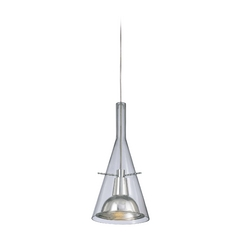 Modern Mini-Pendant Light with Clear Glass in Brushed Nickel Finish