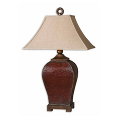 Table Lamp With Beige Cream Shade In Deep Red Finish