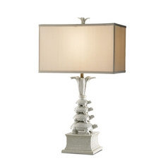 Table Lamp with Beige / Cream Shade in Antique White/ Brass Finish