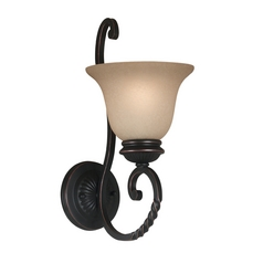 Sconce Wall Light with Amber Glass in Oil Rubbed Bronze Finish