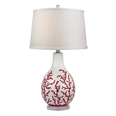 Table Lamp with White Shades in Red with White Finish