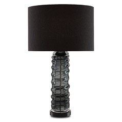 Currey and Company Thundercloud Smoked Gray/clear/black Table Lamp with Drum Shade