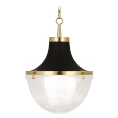 Mid-Century Modern Pendant Light Antique Brass, Matte Black Paint Brighton by Robert Abbey
