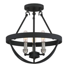 Quoizel Lighting Basin Earth Black Semi-Flushmount Light