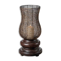 Modern Candle Holder in Chestnut Brown Finish