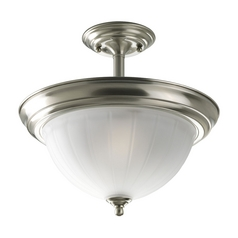 Progress Semi-Flushmount Ceiling Light with White Glass