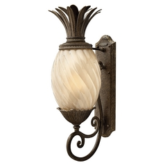 Outdoor Wall Light with Amber Glass in Pearl Bronze Finish